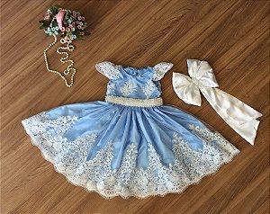 Vestido de Daminha de Luxo Azul e Branco - Infantil