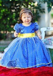 Vestido Azul com Bolinha para Daminha - Infantil