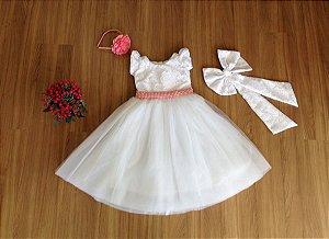 Vestido de Batizado Renda Branca - Infantil