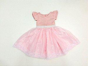 Vestido de Daminha Rosa Luxo - Infantil