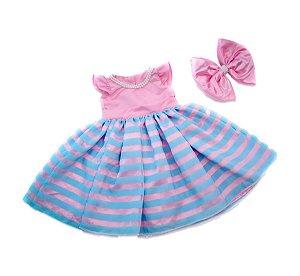 Vestido de Daminha Organza Listrada - Infantil