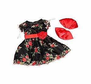 Vestido de Tule Bordado Preto Floral - Infantil
