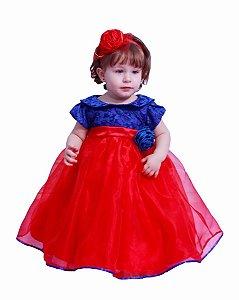 Vestido de Festa Azul e Vermelho - Infantil
