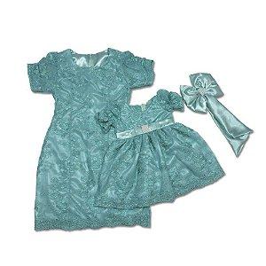 Vestido de Renda Azul Luxo - Mãe e Filha
