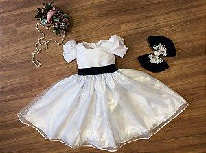 Vestido de Daminha Branco com Organza - Infantil