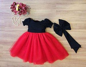 Vestido de Tule Preto e Vermelho - Infantil