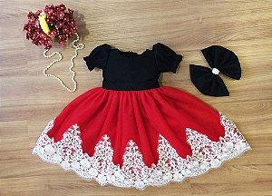 Vestido de Tule e Renda Branca - Infantil