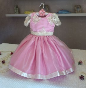 Vestido Rosa de Luxo para Daminha - Infantil