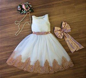 Vestido de Daminha Off-White com Tule Francês - Infantil