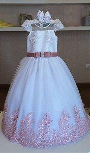 Vestido de Daminha Tule Francês Rosa - Infantil