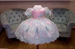 Vestido para Daminha Rosa e Verde - Infantil