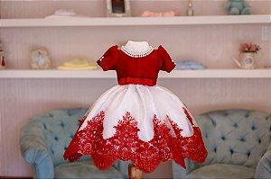 Vestido Vermelho com Branco - Infantil