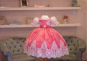 Vestido de Festa Pink e Branco - Infantil