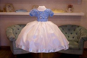 Vestido Azul Bebe e Branco - Infantil