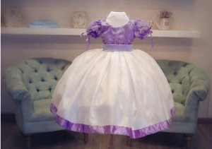 Vestido Lilas e Branco - Infantil