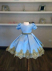 Vestido Azul Com Renda Dourada