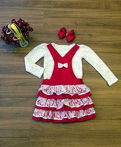 Conjunto de Jardineira Saia Floral Vermelha - Infantil