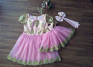 Moda Mãe e Filha - Rosa e Dourado