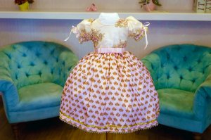 Vestido de Festa de Estampa Coroas Rosa Bebê - Infantil