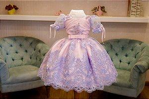 Vestido para Daminha Rosa e Lilás - Infantil