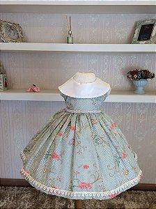 Vestido Floral Verde com Renda - Infantil