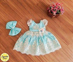 Vestido de Daminha de Luxo Verde Tiffany - Infantil