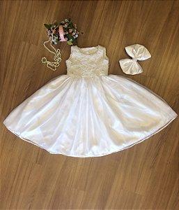 Vestido Para Primeira Comunhão Branco - Infantil