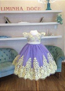 Vestido para Daminha Lilás e Amarelo - Infantil