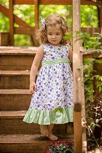 Vestido Branco Floral Azul - Infantil