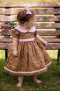 Vestido Floral Marrom - Infantil
