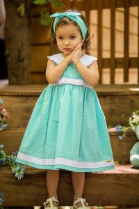 Vestido Verde Aguá   - Infantil