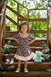Vestido Preto Floral - Infantil