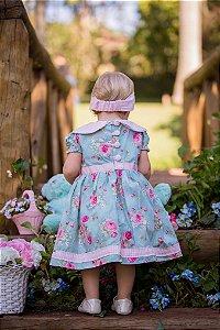 Vestido Azul Claro e Floral Rosa - Infantil