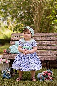 Vestido Branco e Floral Azul - Infantil