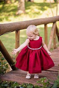 Vestido de Tafeta Marsala - Infantil