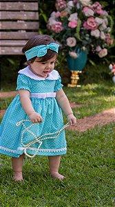 Vestido Azul Bebê e Branco - Infantil