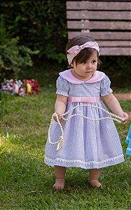 Vestido Rosa com Xadrez - Infantil