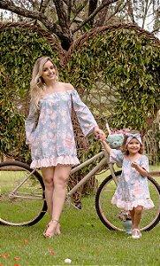 Vestido Ombro a Ombro Floral Rosa - Mãe e Filha