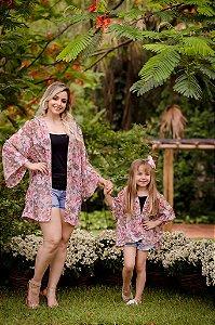 Kimono Floral Rosa Mãe e Filha