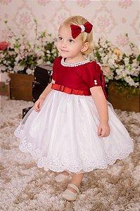 Vestido para Dama Marsala e Branco - Infantil