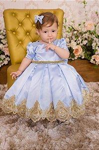 Vestido Realeza Azul e Dourado -INFANTIL