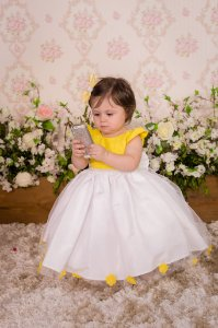Vestido Luxo Amarelo e Branco - Infantil