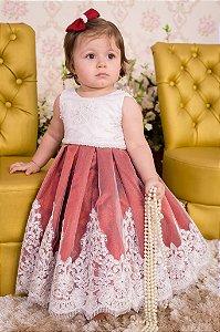 Vestido para Daminha Branco e Marsala - Infantil