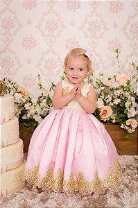 Vestido Rosa com Dourado - Infantil
