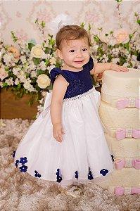 Vestido Azul e Branco para festa - Infantil