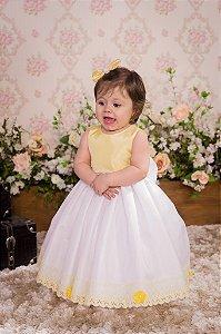 Vestido Amarelo e Branco para festa - Infantil