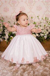Vestido Rose e Branco para festa - Infantil