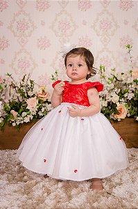 Vestido Vermelho e Branco para festa - infantil
