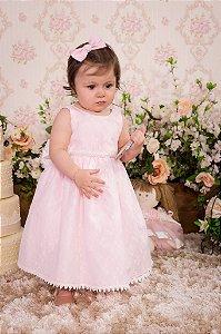 Vestido Rosa com Renda para Daminha - Infantil