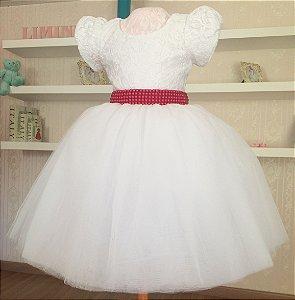 Vestido Luxo Branco e Vermelho - Infantil